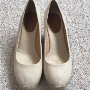 J Crew natural espadrille wedges